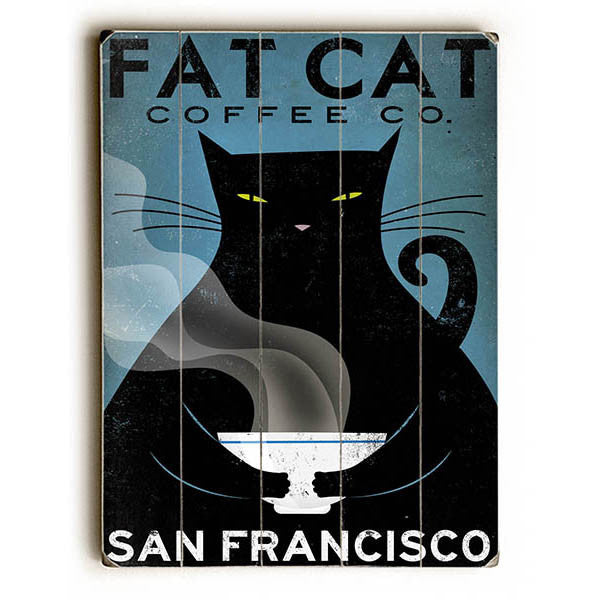 fat cat coffee wood sign