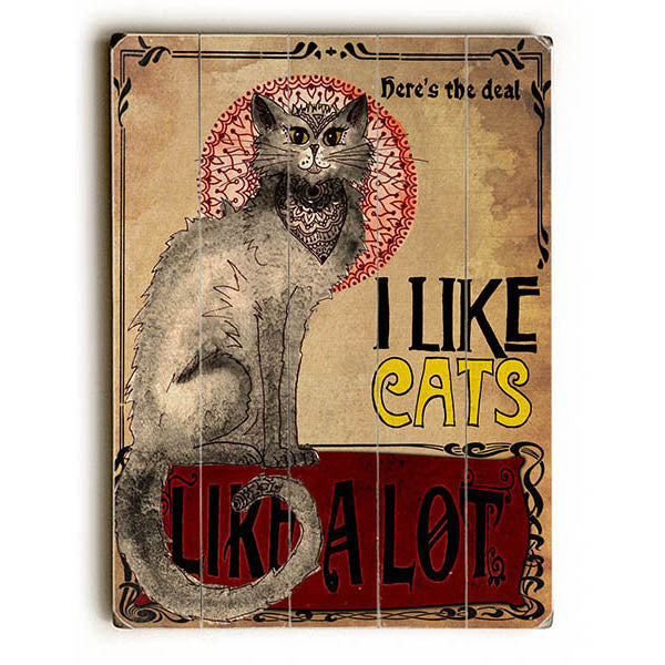 I Like Cats Wood Sign