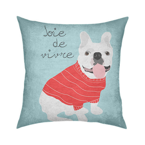 Bulldog Joie de Vivre Throw Pillow