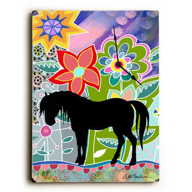 Floral Horse Wall Clock