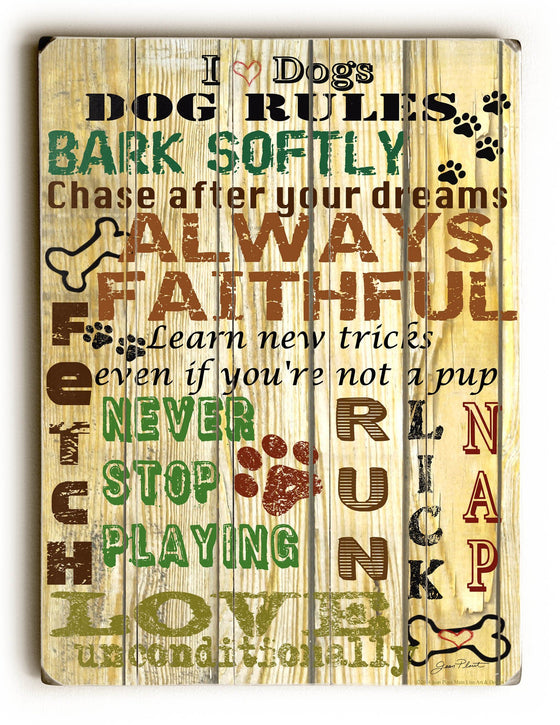 Love Dogs Planked Wood Sign