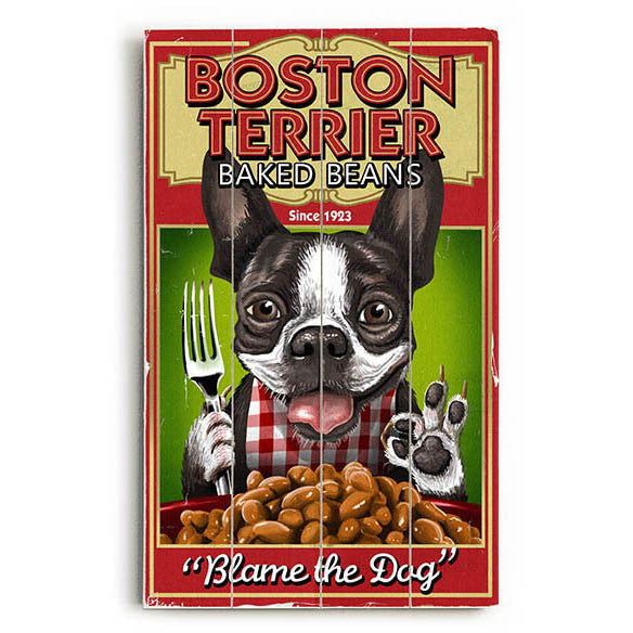 Boston Terrier Baked Beans Wood Sign