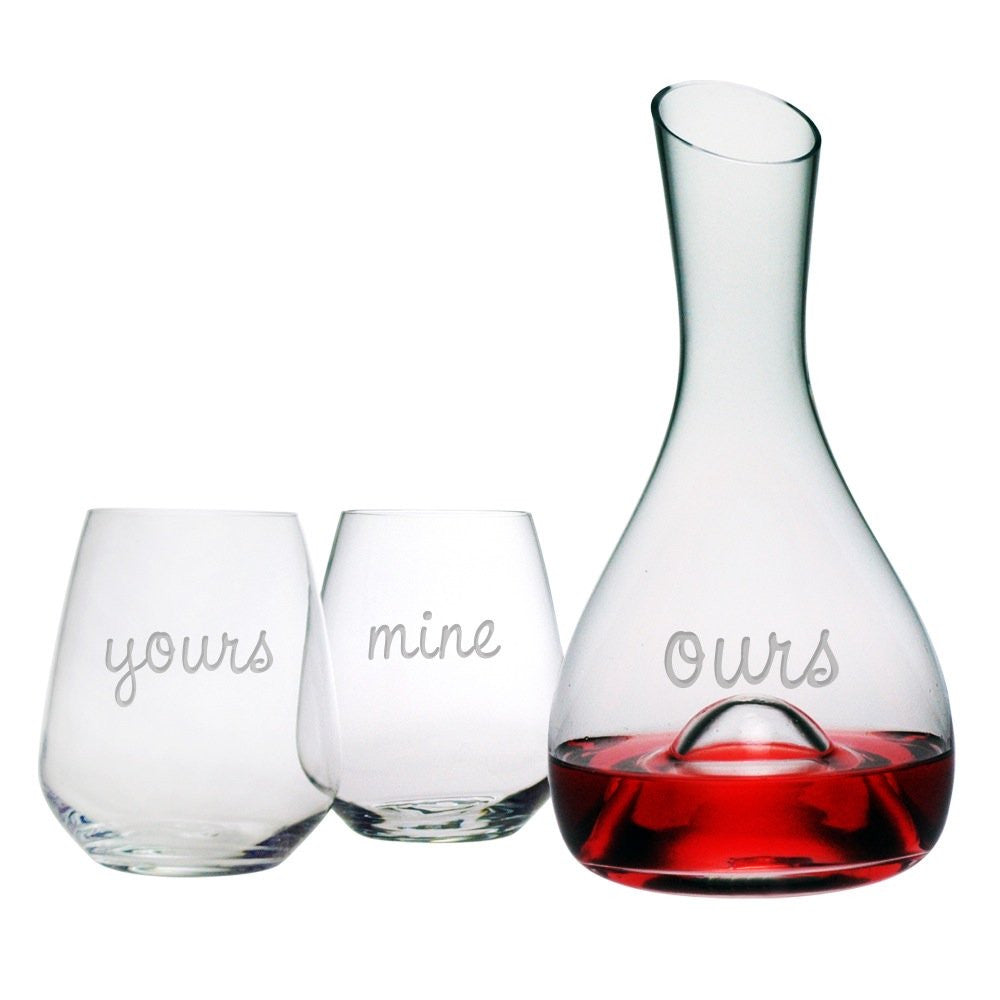 Yours, Mine, Ours Carafe & Stemless Glasses Set