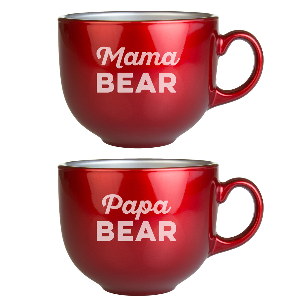 Mama Bear Papa Bear Metallic Red Jumbo Coffee Mugs ~ Premier Home & Gifts