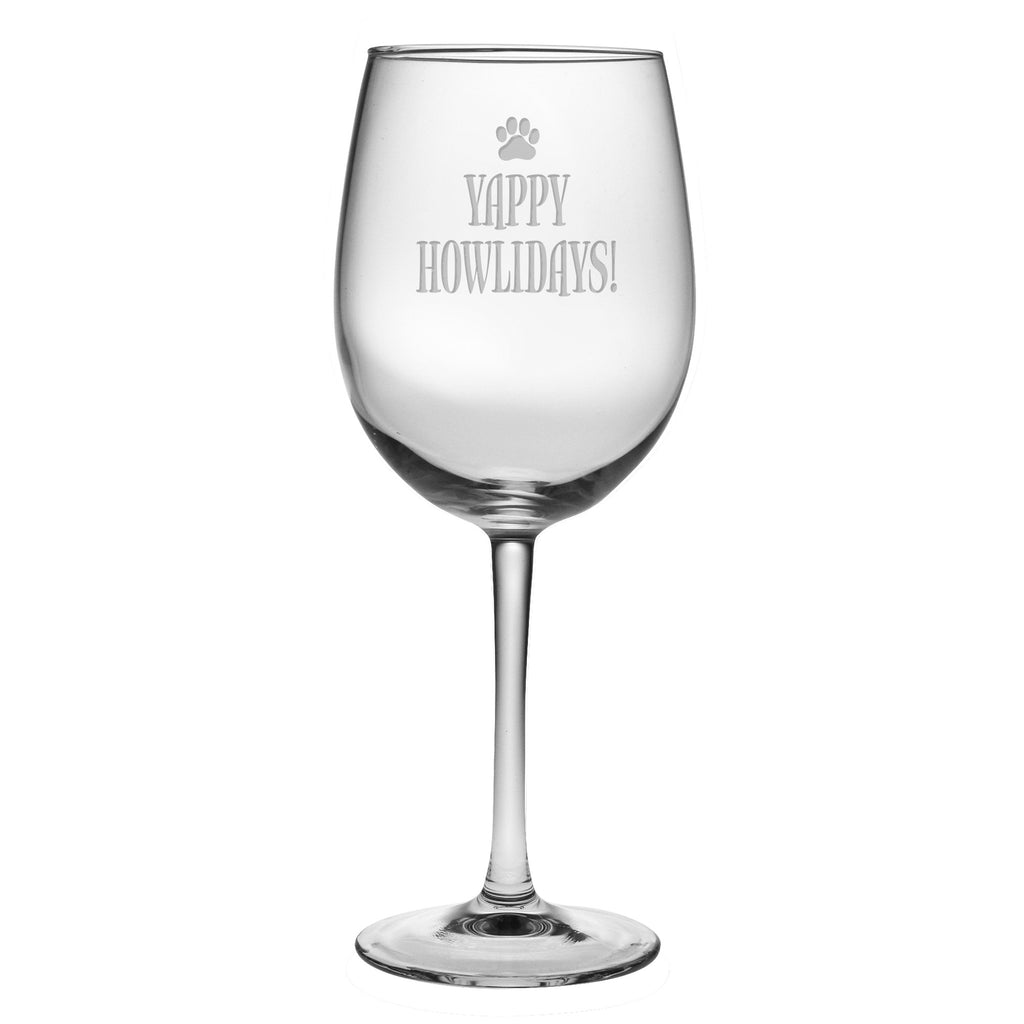 Yappy Howlidays Wine Glasses ~ Set of 4