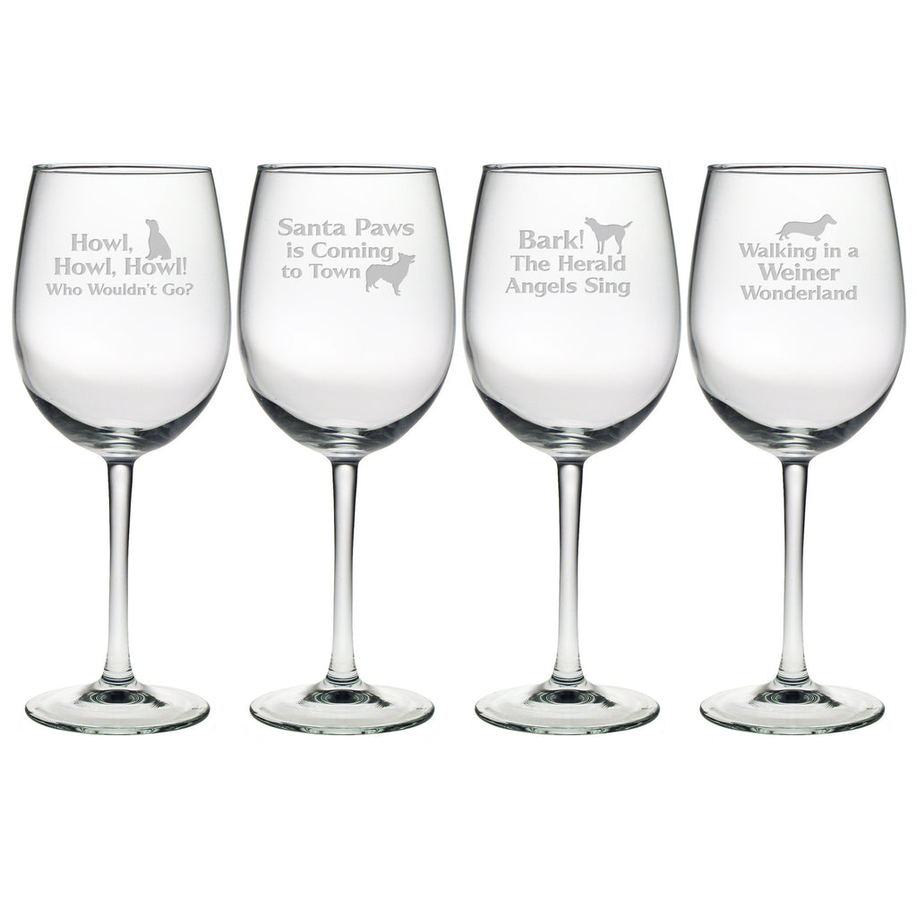 Canine Carols Wine Glasses ~ Set of 4
