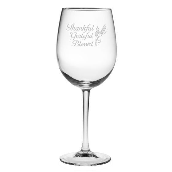 Thankful Wine Glasses ~ Set of 4