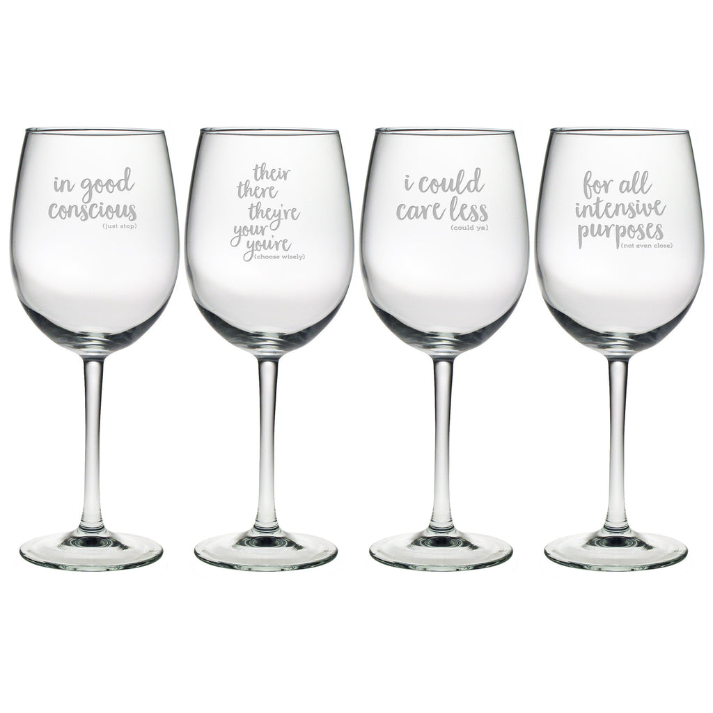 Grammar Police Wine Glasses - Premier Home & Gifts