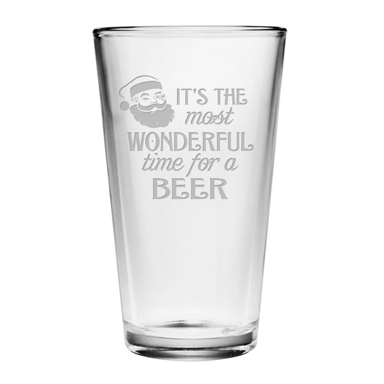 Most Wonderful Time Pint Glasses ~ Set of 4