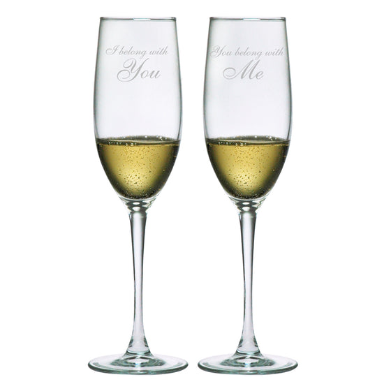I Belong With You, You Belong With Me Champagne Glasses