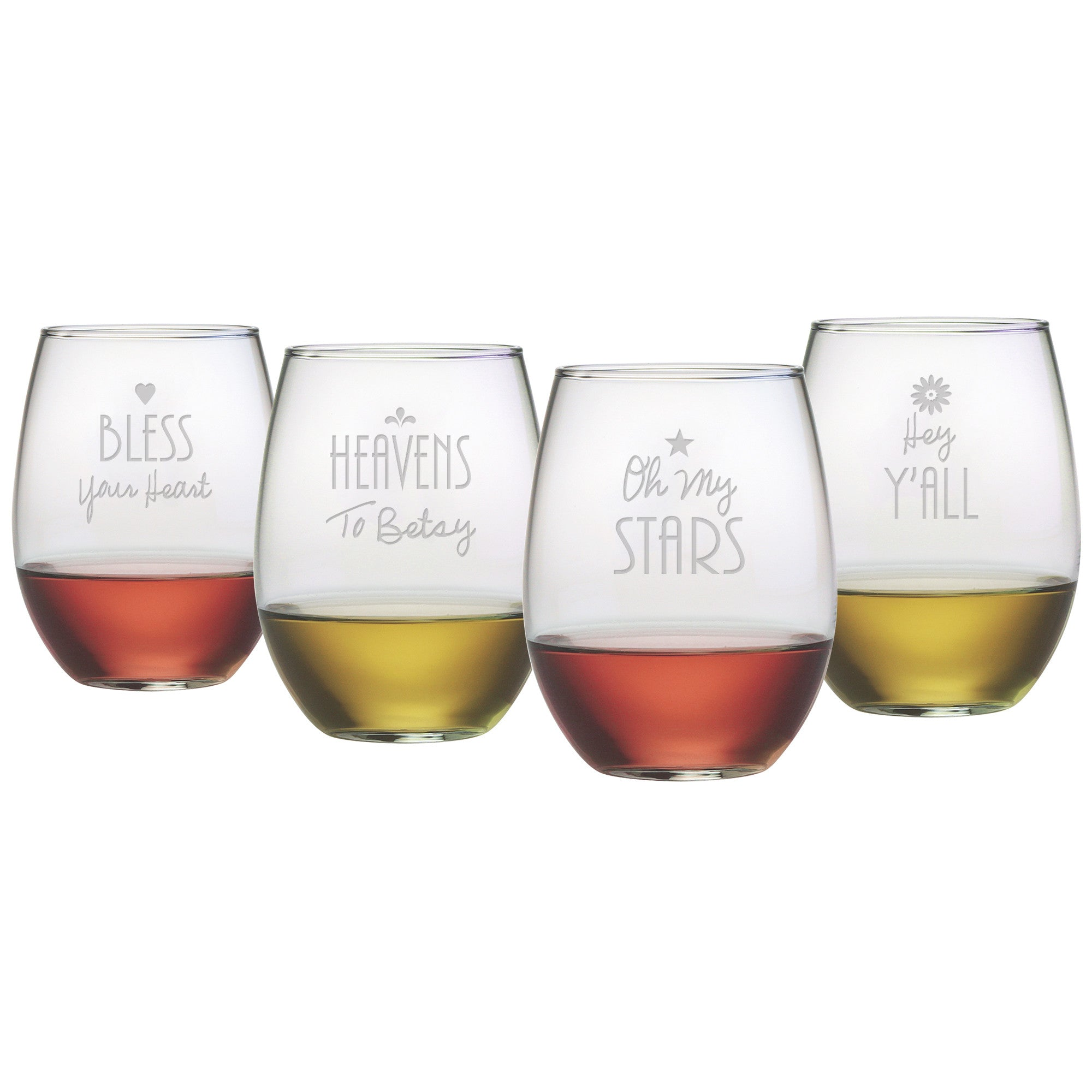 Southern sayings stemless wine glasses - Stemless wine goblets ...