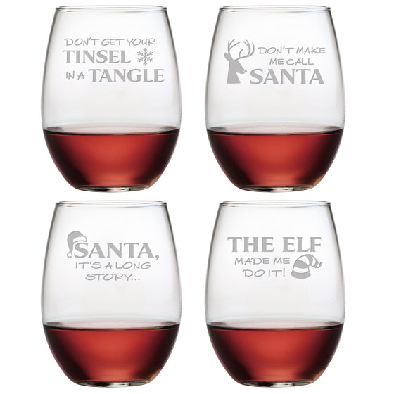Holiday Hijinks Stemless Wine Glasses ~ Set of 4