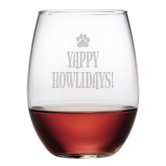 Yappy Howlidays Stemless Wine Glasses ~ Set of 4