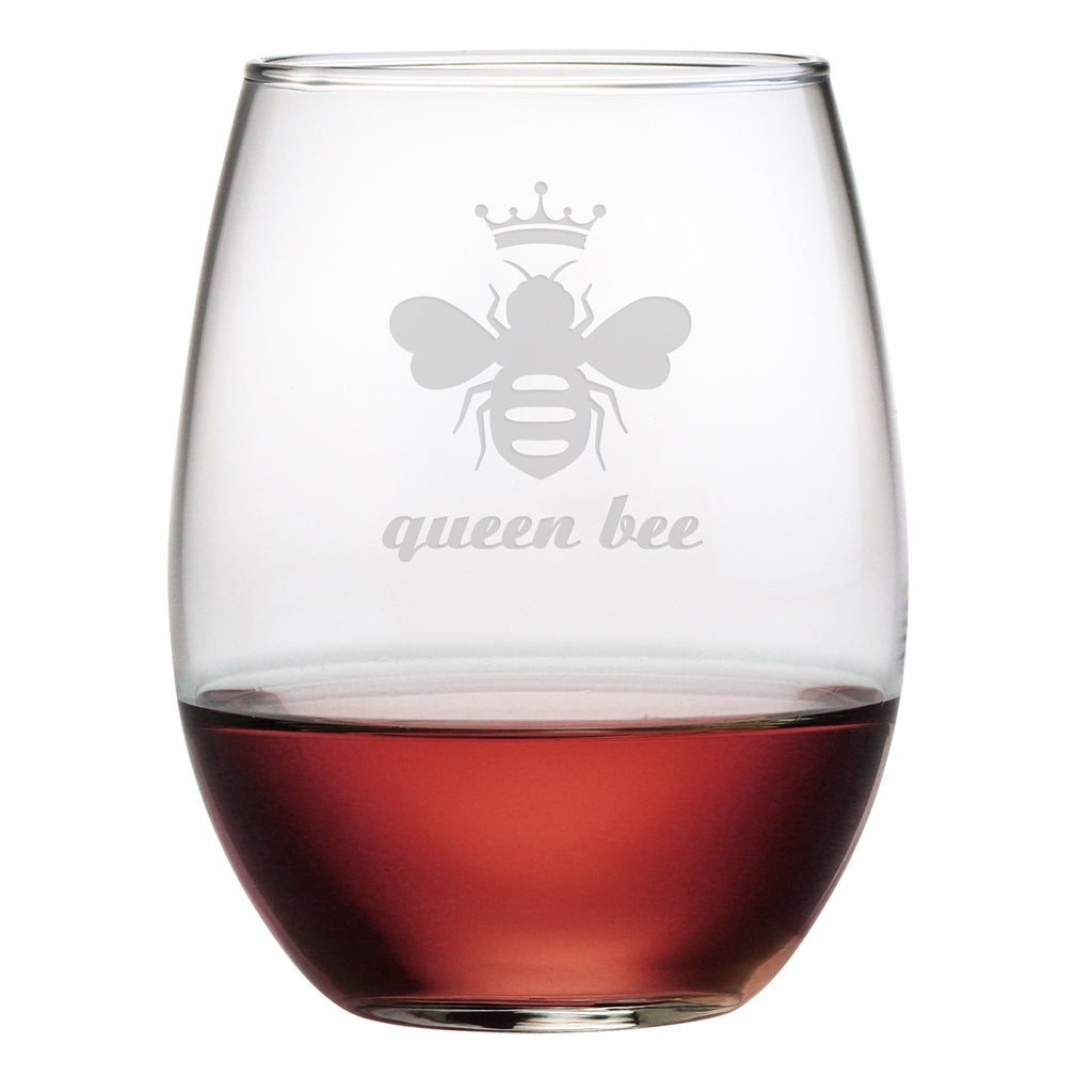 Queen Bee Design Stemless Wine Glasses