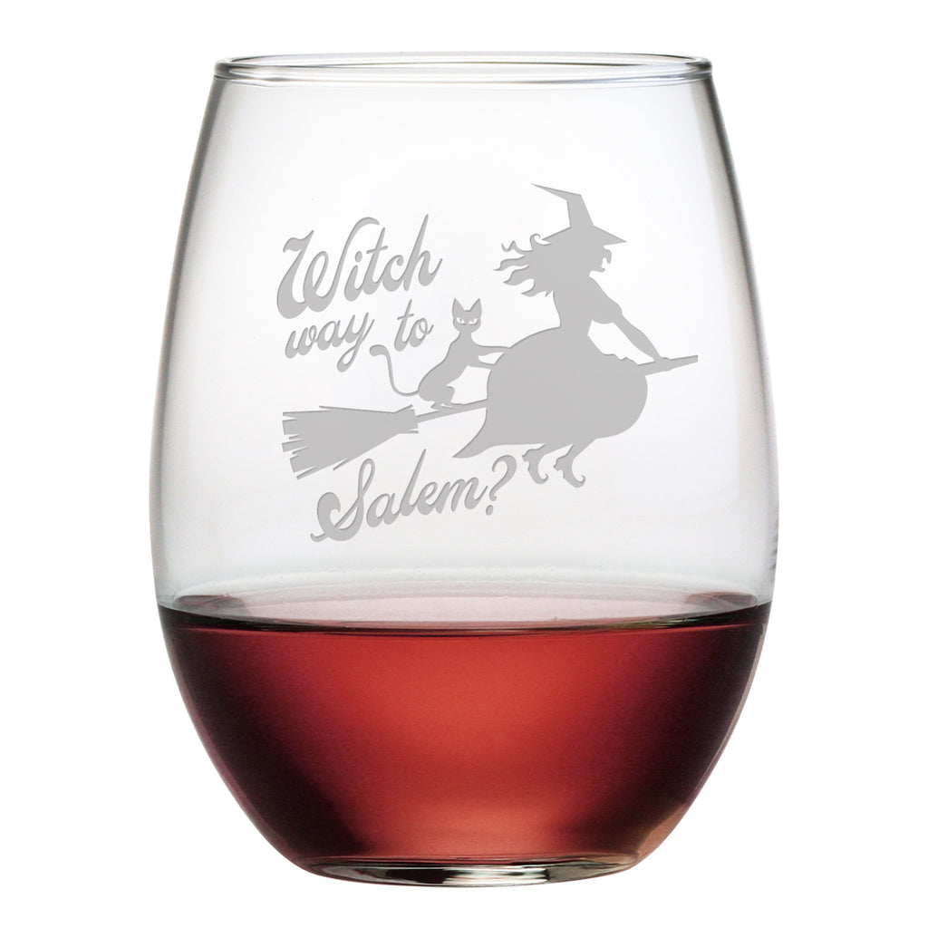 Witch Way To Salem Stemless Wine Glasses - Set of 4 | Premier Home & Gifts