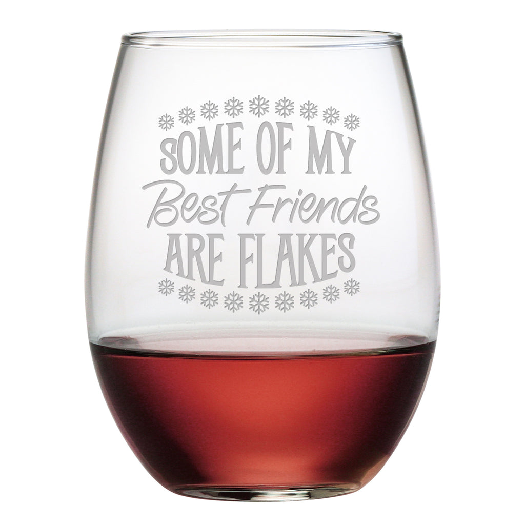Best Friends Are Flakes Stemless Wine Glasses ~ Set of 4