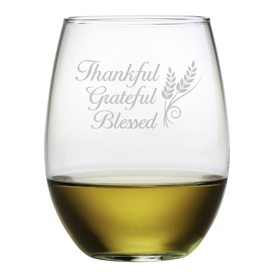 Thankful Stemless Wine Glasses ~ Set of 4