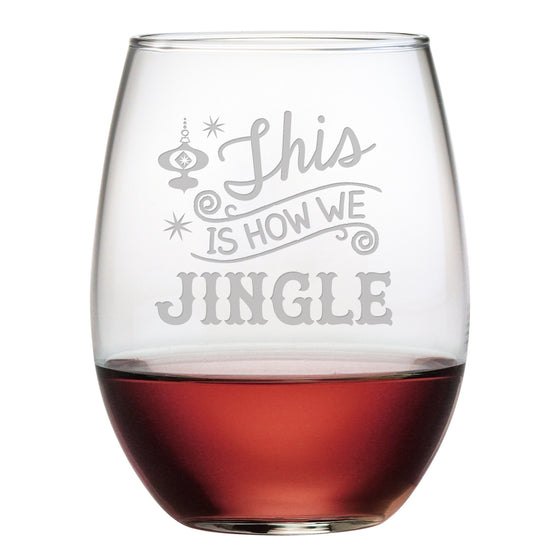 How We Jingle Stemless Wine Glasses ~ Set of 4