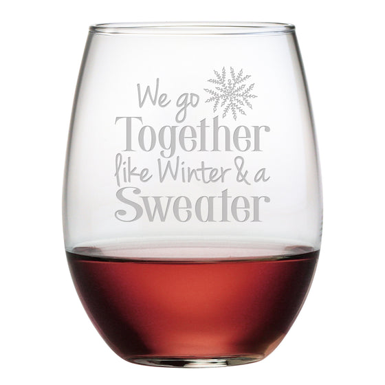 Winter and a Sweater Stemless Wine Glasses ~ Set of 4