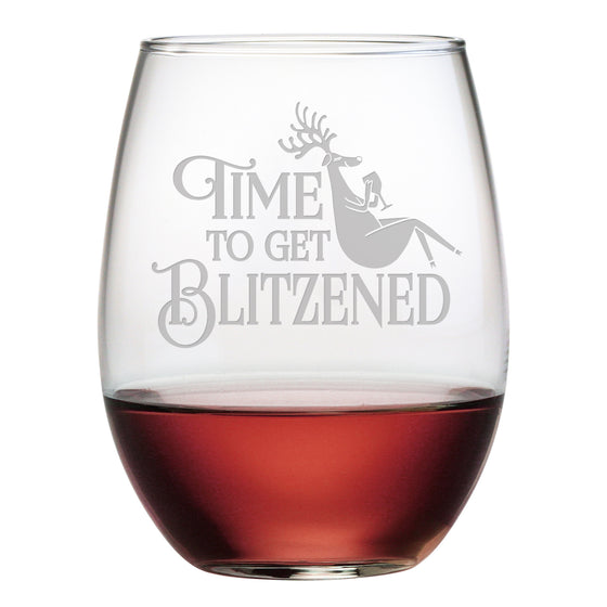 Blitzened Stemless Wine Glasses ~ Set of 4