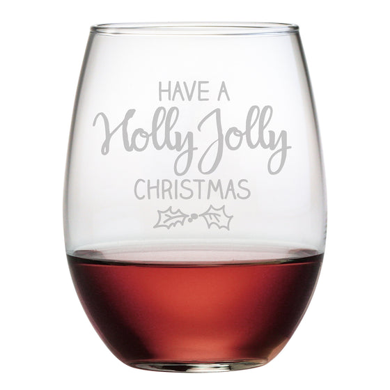 Holly Jolly Christmas Stemless Wine Glasses ~ Set of 4