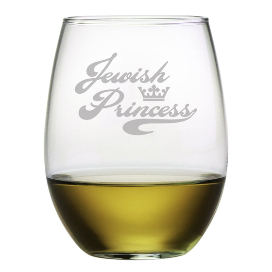 Jewish Princess Stemless Wine Glasses ~ Set of 4