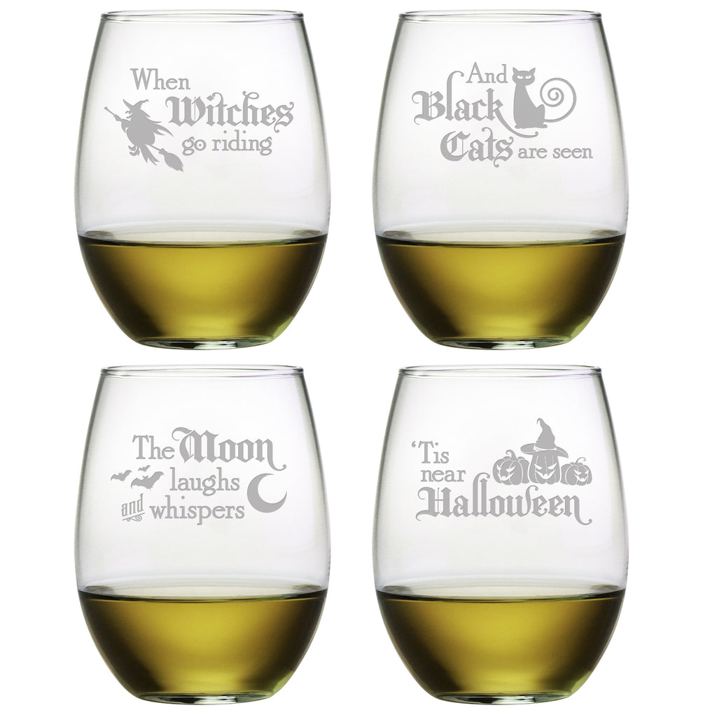 Halloween Verse Stemless Wine Glasses - Set of 4 | Premier Home & Gifts