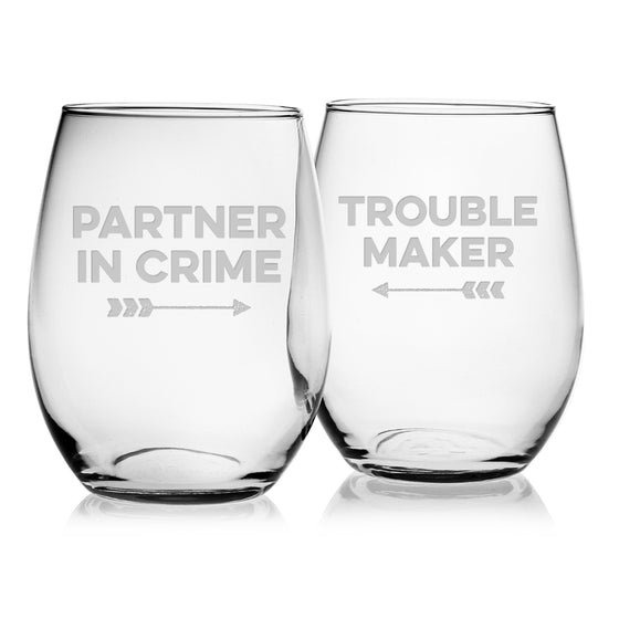 Partner Trouble ~ Stemless Wine Glasses - Premier Home & Gifts