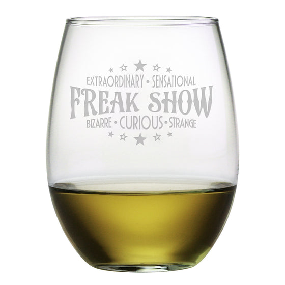 Freak Show Stemless Wine Glasses - Set of 4 | Premier Home & Gifts