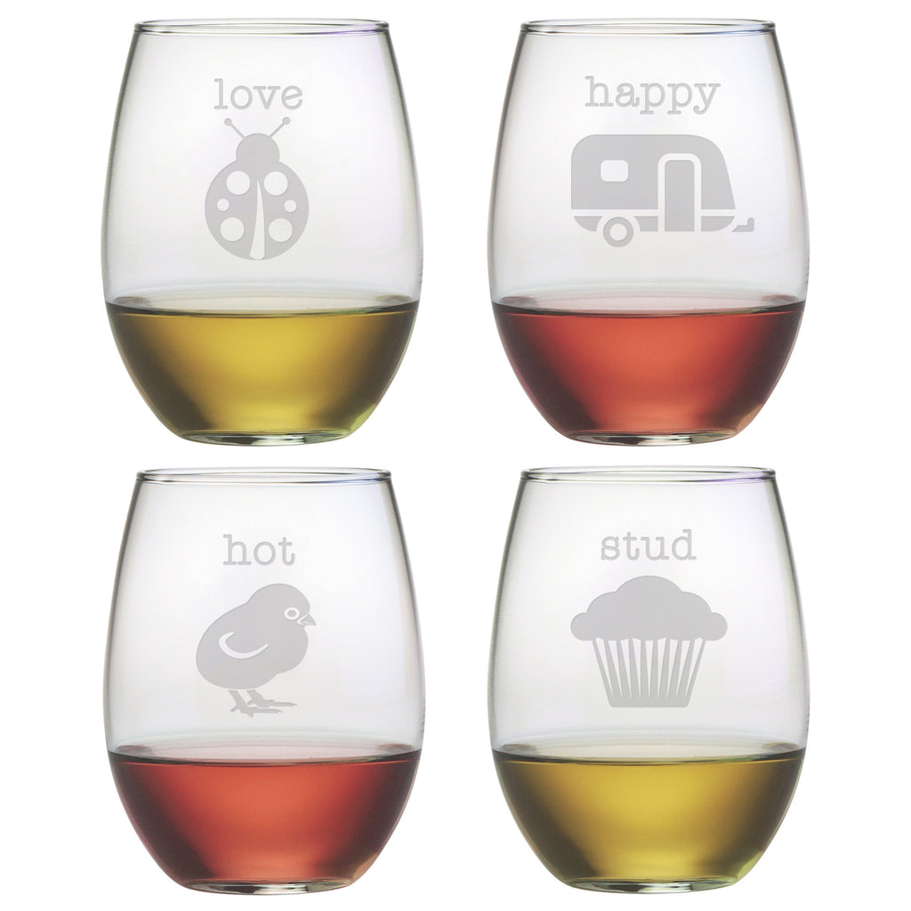 Clever Names Stemless Wine Glasses