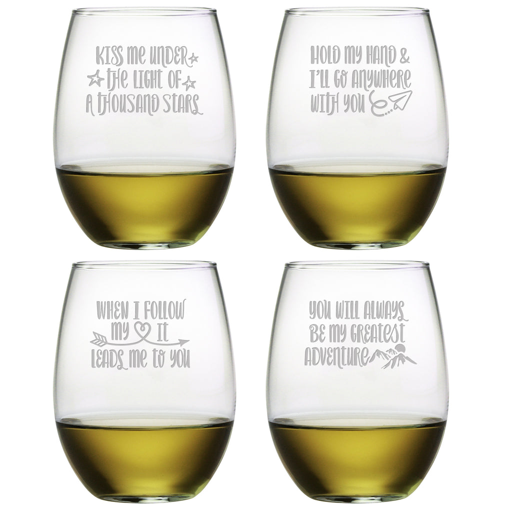 Love Adventure Stemless Wine Glasses - Set of 4