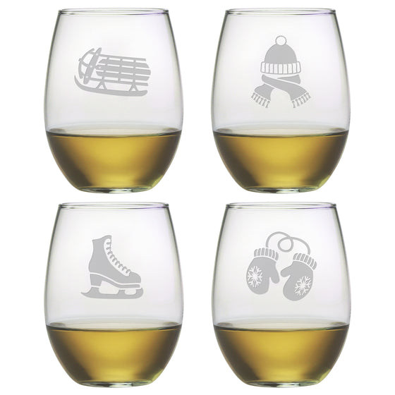 Signs of Winter Stemless Wine Glasses ~ Set of 4