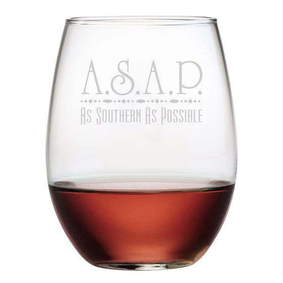ASAP - As Southern As Possible Stemless Wine Glasses