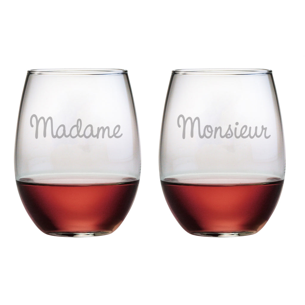 Madame & Monsieur Stemless Wine Glasses