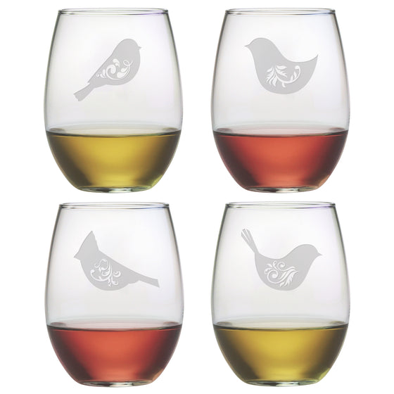 Birds of a Feather Motif Stemless Wine Glasses