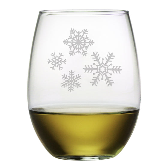 Snowflake Cluster Stemless Wine Glasses ~ Set of 4