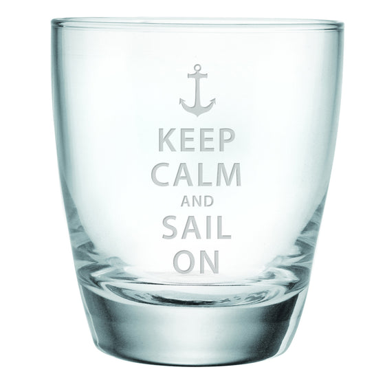 Keep Calm and Sail On Double Old Fashioned Glasses