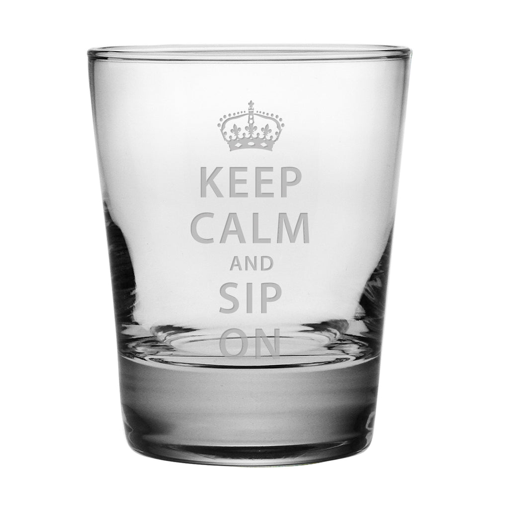 Keep Calm and Sip On Double Old Fashioned Glasses