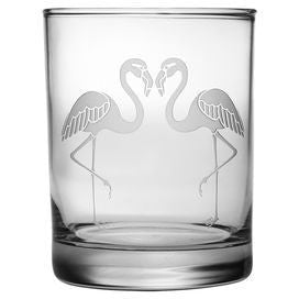 Flamingos Double Old Fashioned Glasses ~ Set of 4