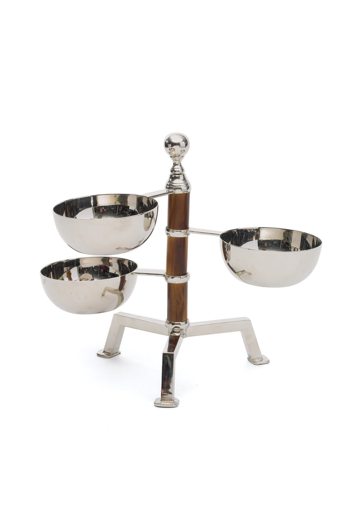 Tiered Bamboo Bowl Stand