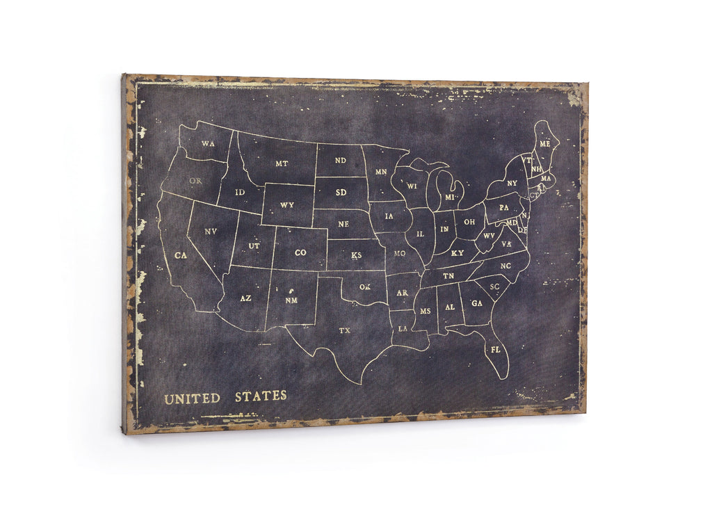 Vintage USA Map Wall Decor