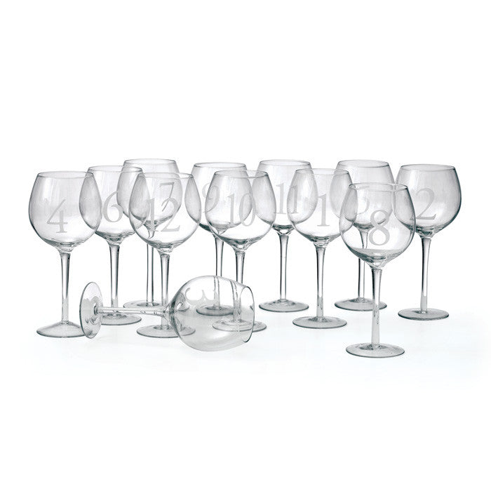 Numerology Wine Glasses ~ Set of 12