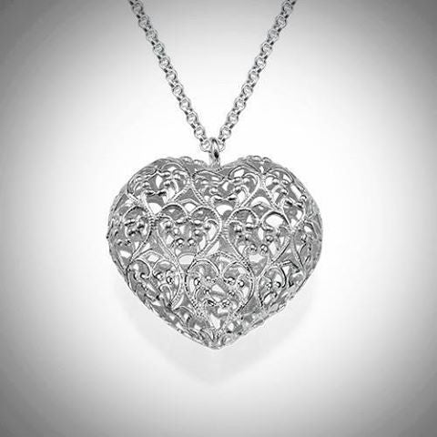 Filigree Heart Necklace - Sterling Silver