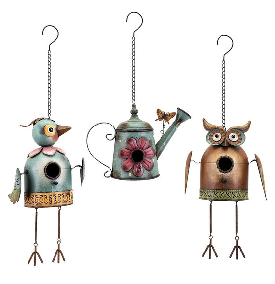 Whimsical Hanging Metal Birdhouses
