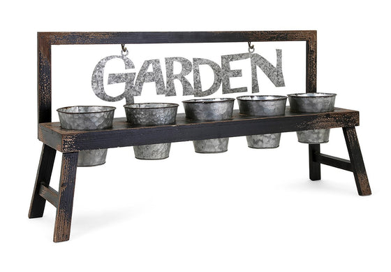 Grow Your Garden Planter - Galvanized Metal Flower Pots Herb Garden Planter
