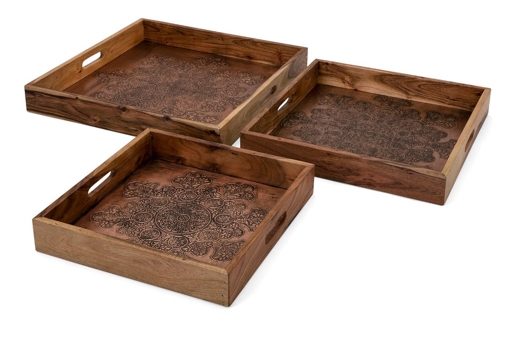 Copper Embossed Mango Wood Trays