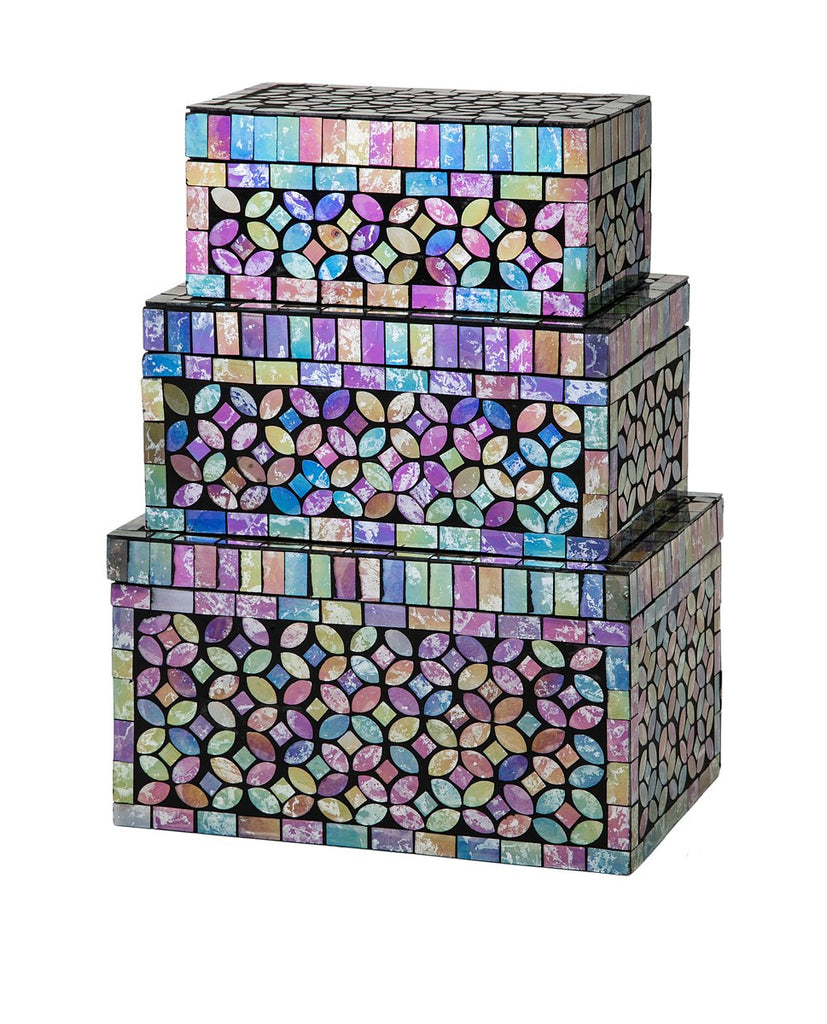 Morenci Glass Mosaic Boxes - Home Decor Decorative Accents Storage Boxes