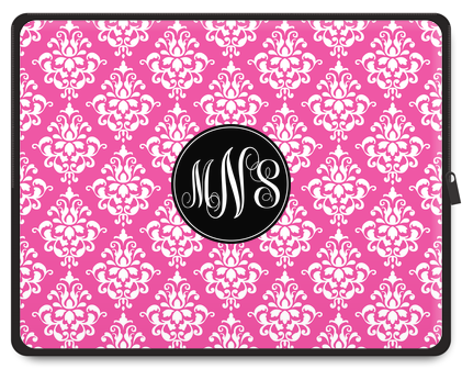 Damask Monogram Laptop Case - Script