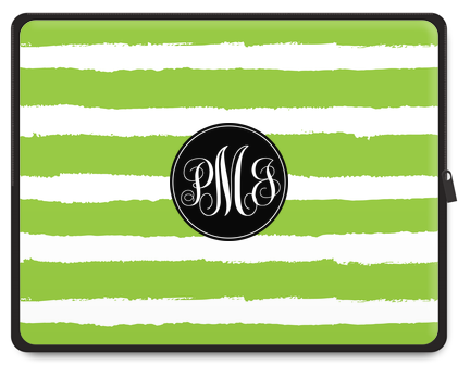 Painted Stripe Monogram Laptop Case - Script