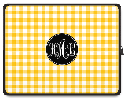 Gingham Monogram Laptop Case - Script